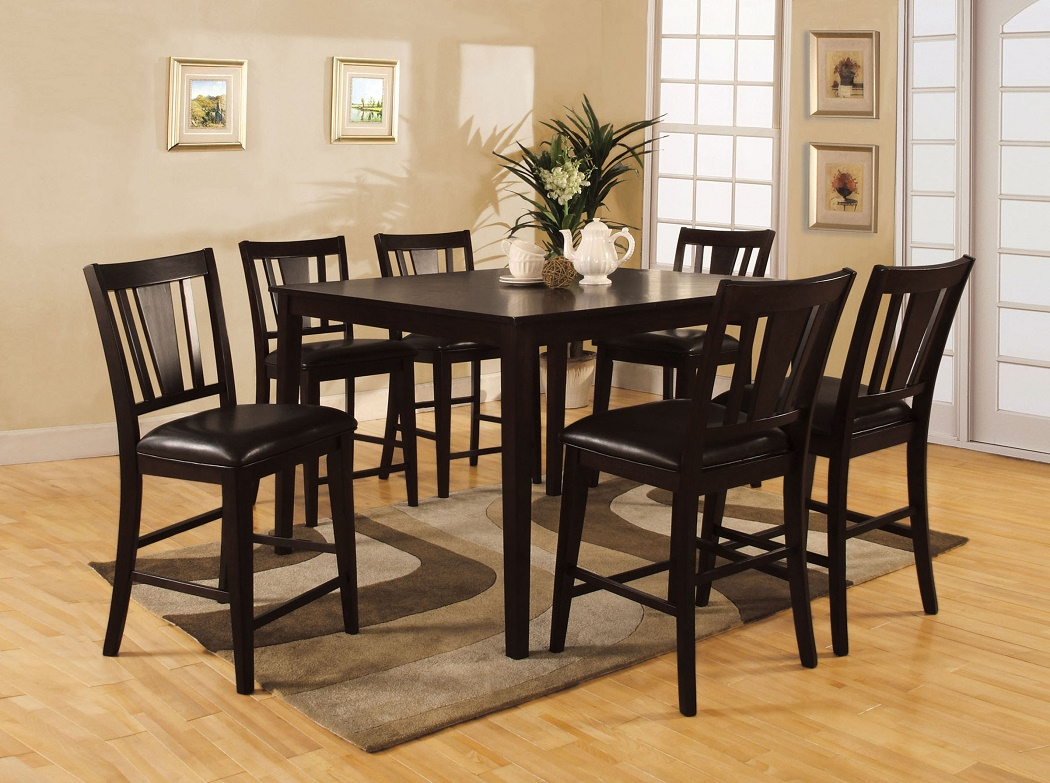 leatherette parson chairs sleek 7pc counter height dining room ebay