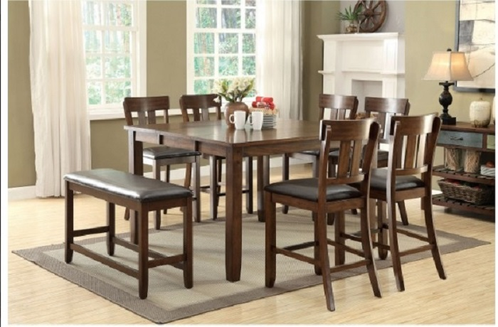 Rustic Oak Finish 8pc Counter Height Dining Room Furniture Leatherette Cushio