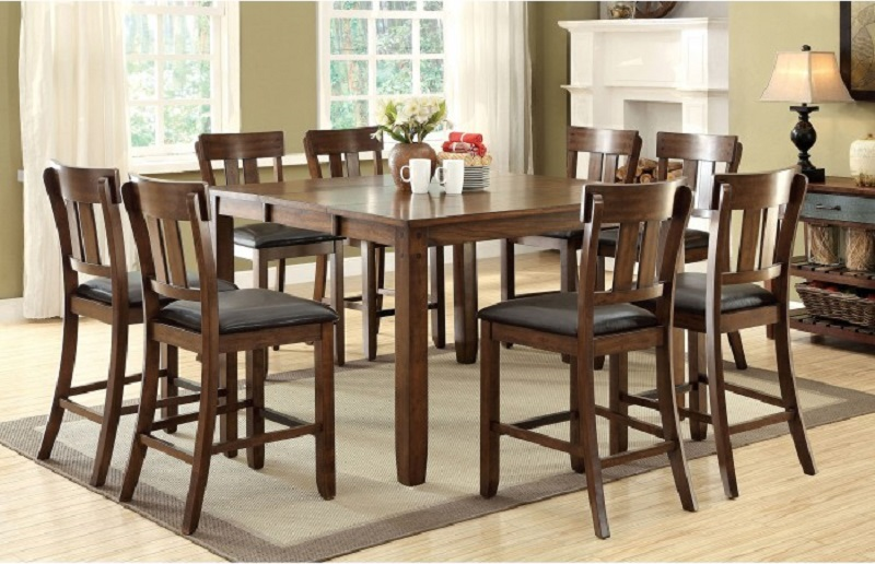 Rustic Oak Finish 9pc Counter Height Dining Room Furniture Leatherette Cushio