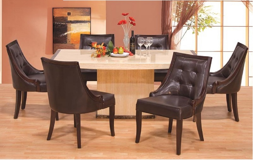 Modern Dining Set Ivory Marble Top Rect Dining Room Table