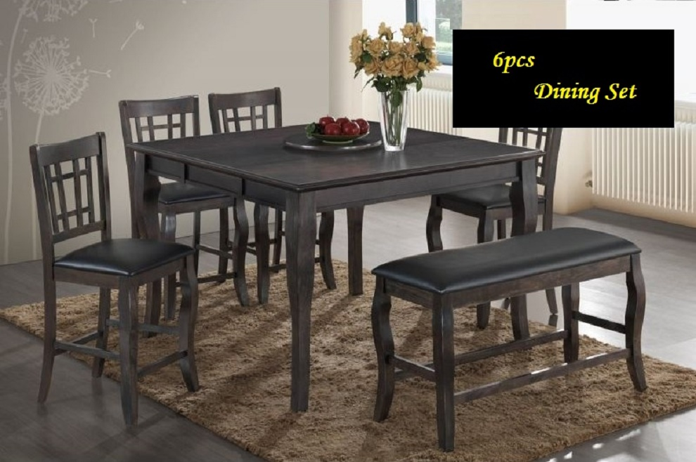 New Modern Design Grey Counter Height Dining Table Chairs Bench Faux Le