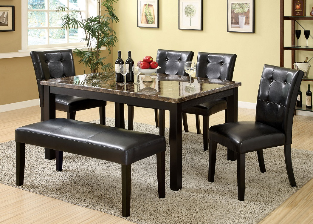 Contemporary Black Finish 6pc Dining Set Table Bench amp 4  : CM3870T bench from www.ebay.com size 1050 x 750 jpeg 410kB