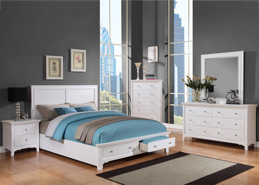 White Contemporary Queen Size Storage Bed Dresser Mirror Night Stand  Bedroom Furniture Set