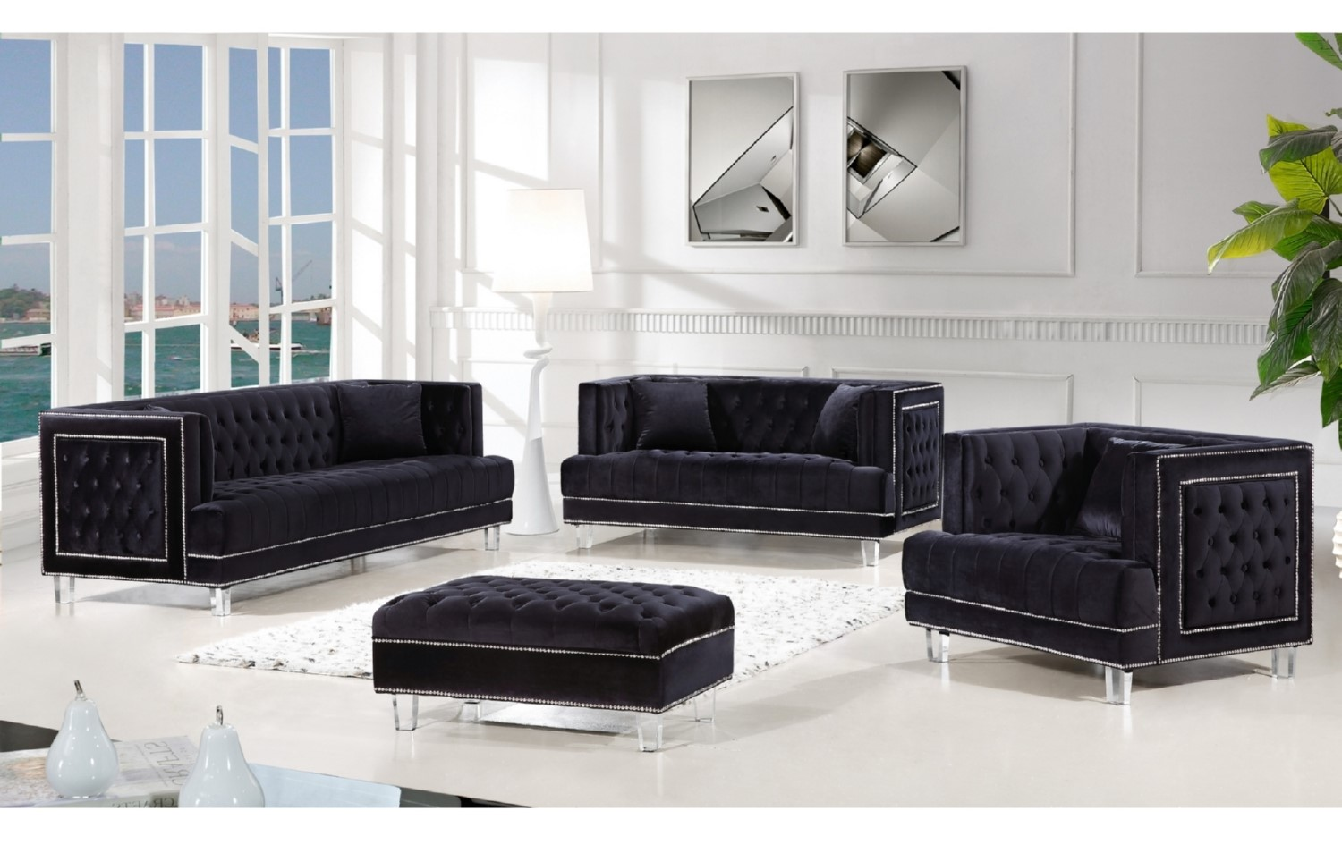3pc Black Sofa Set Living Room Furniture Hot Sectionals