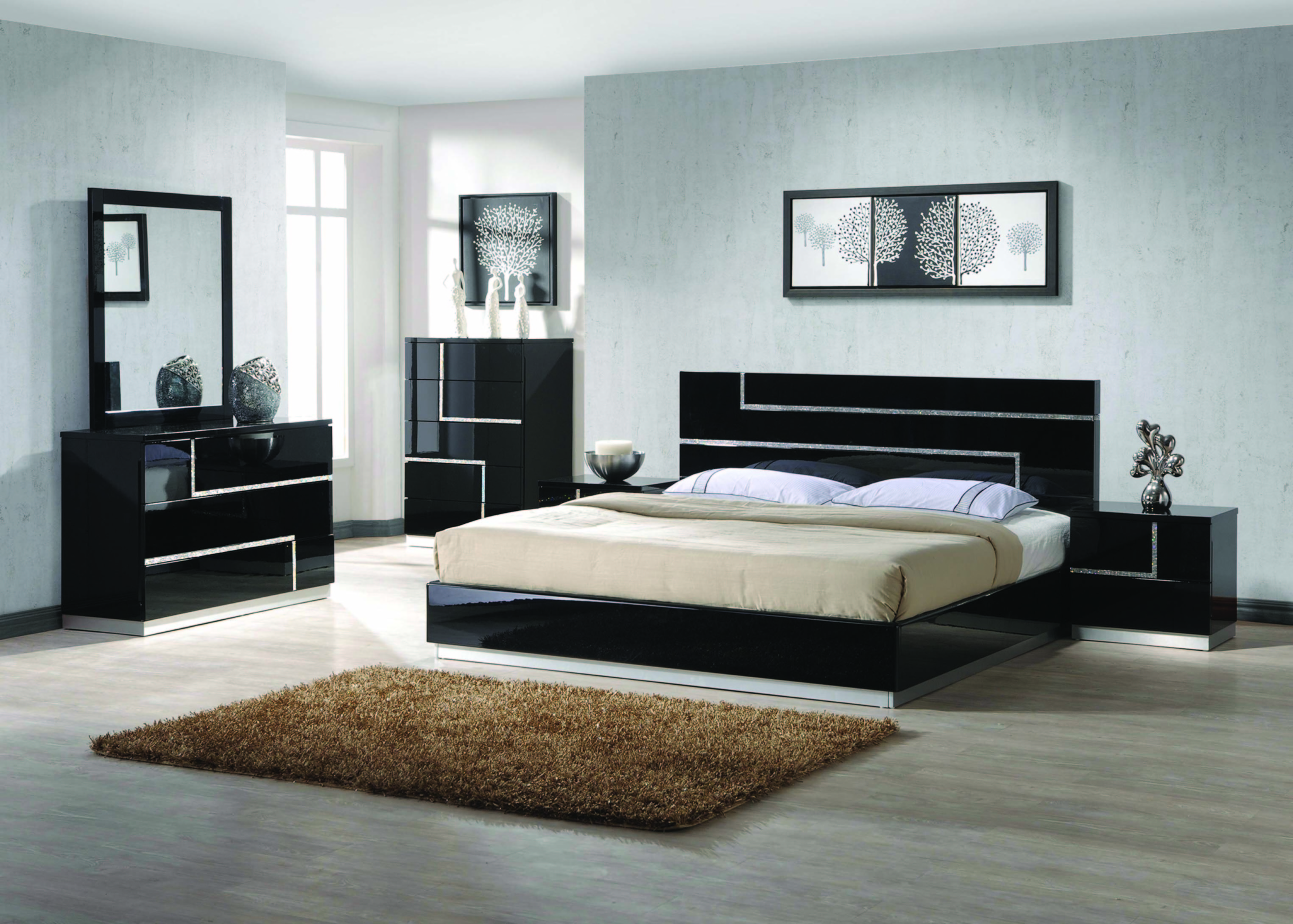 Barcelona Modern Bedroom Set Queen Size Bed 4pc Rhinestone On Headboard