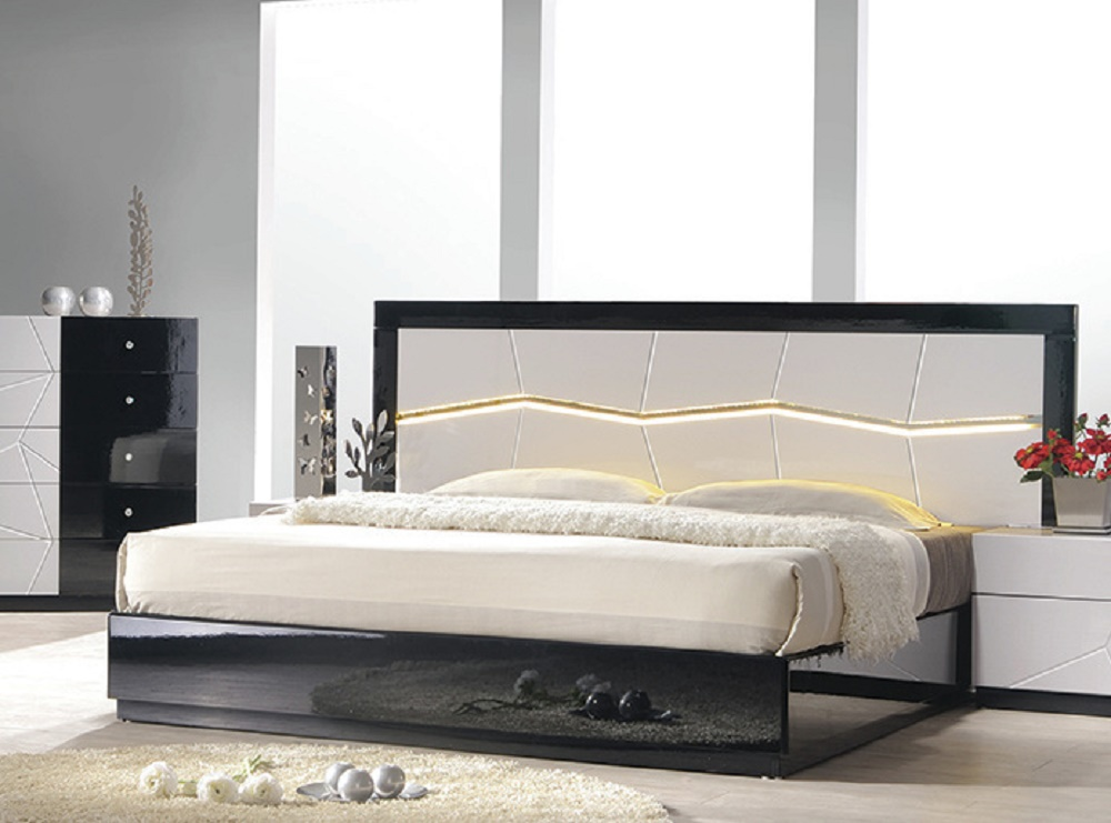 modern queen size bed black white headboard led lighting bedroom furniture ebay