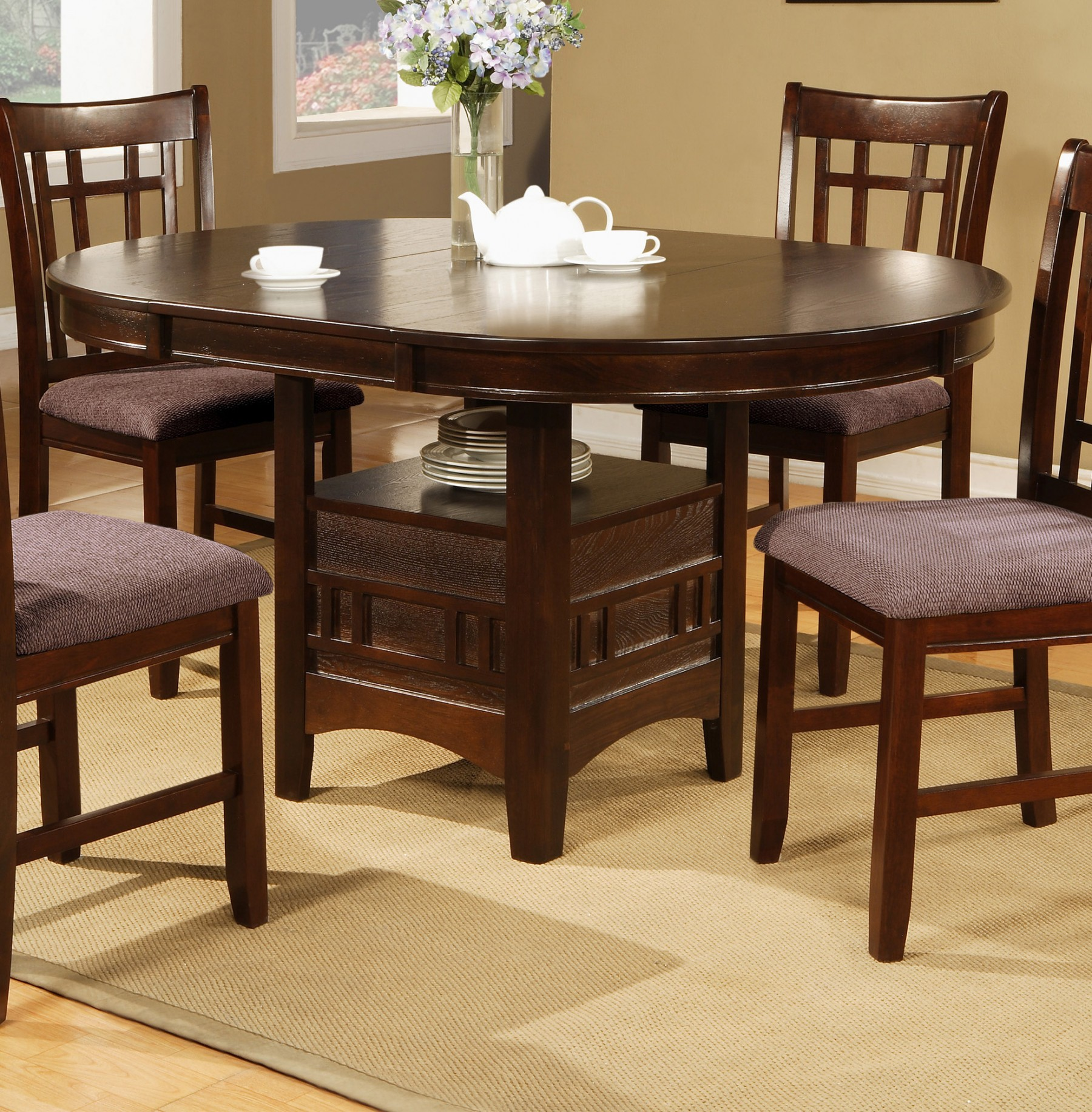 5pc Espresso Dining Room Kitchen Set Table 4 Brown: 5pc Espresso Dining Room Table W/4 Side Fabric Chairs Seat