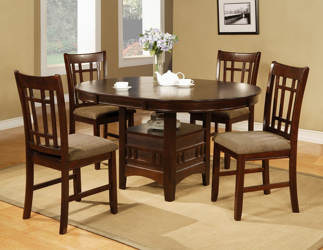 5pc Espresso Dining Room Table w/4 Side Fabric Chairs Seat ...