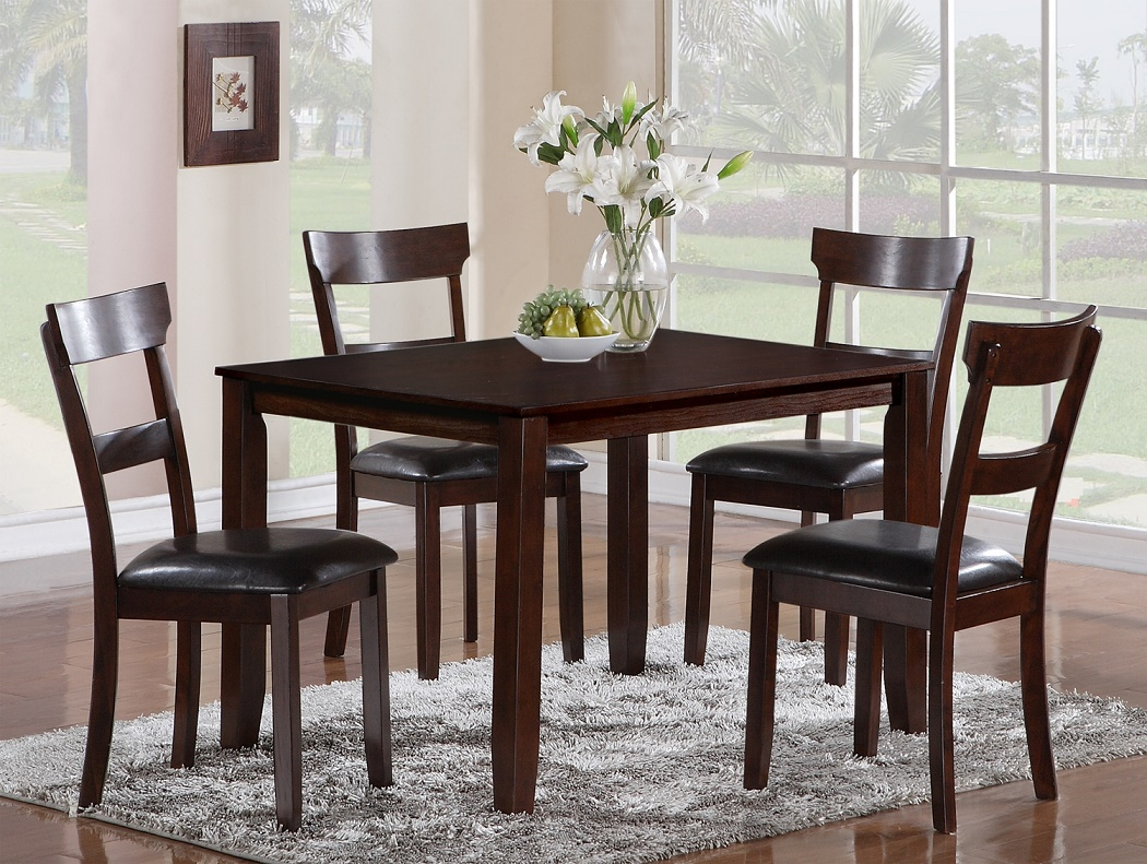 Contemporary Style Dining Room 5pc Set Table Slat Seat Back Upholstery Chairs Furniture