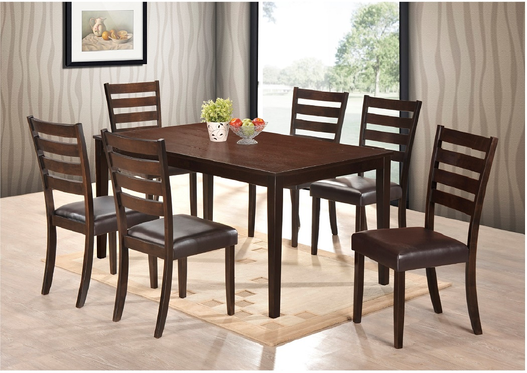 7pc Dining Room Table W 6 Side Chairs Uph Black Seat