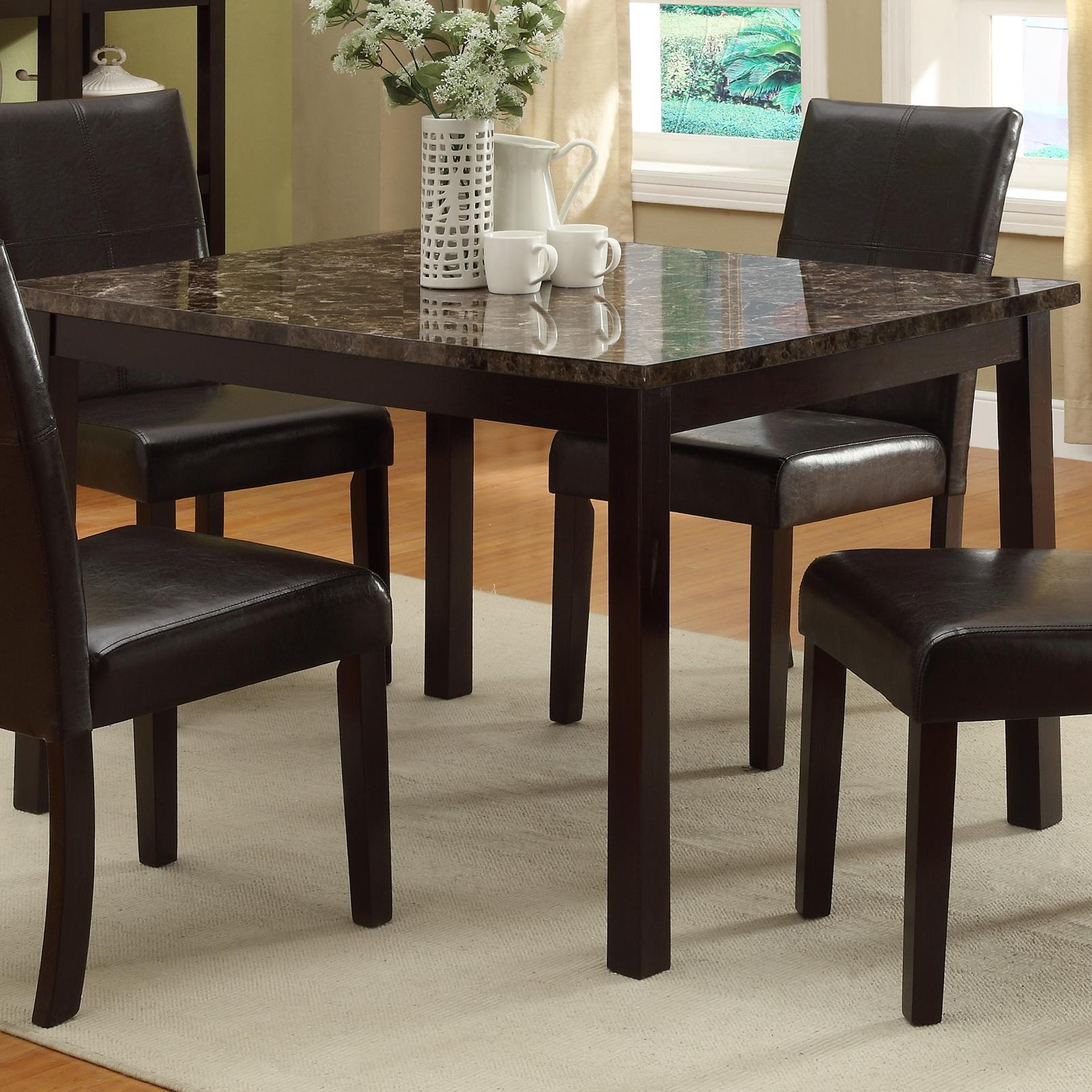 5pc Dining Room Table W 4 Side Chairs Uph Black Seat Back
