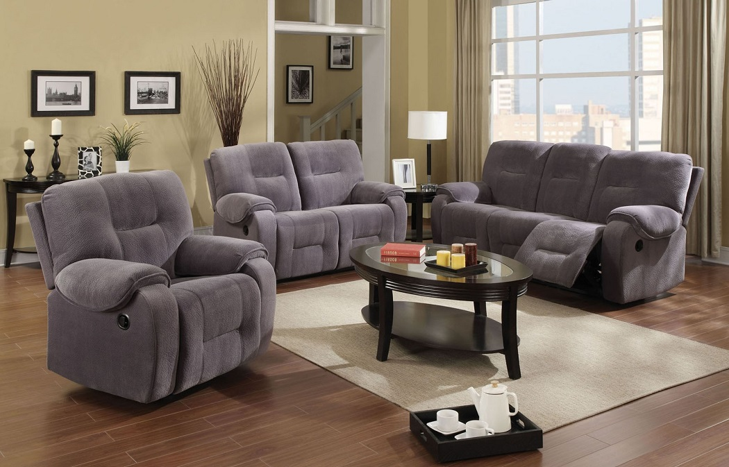 Reclining Style Sofa With Loveseat Living Room Furniture Sofa Set In Light Gray Ebay