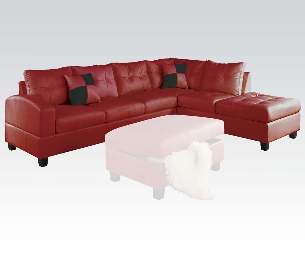 Living room sectional sofa set red modern bonded leather - Overstuffed leather sofa living room ...