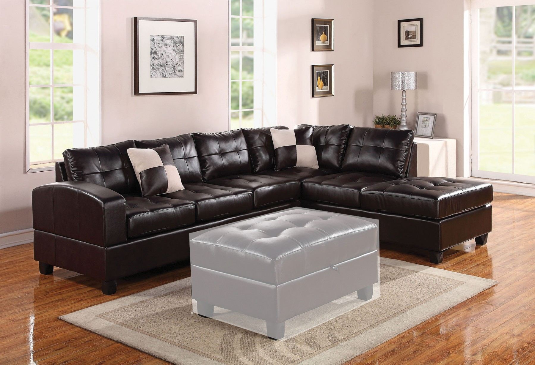 Modern Kiva Espresso 2Pc Sectional Set Bonded Leather Living Room Furniture  Home