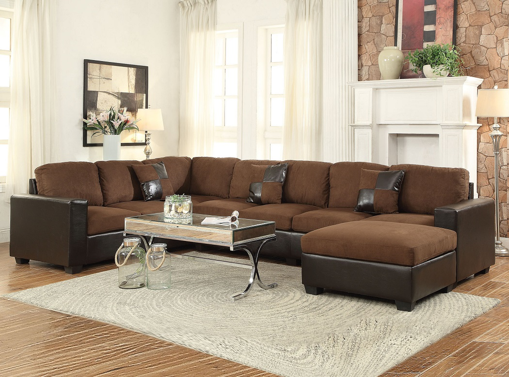 Chocolate Microfiber 3pc Sectional Sofa Set Hot Sectionals