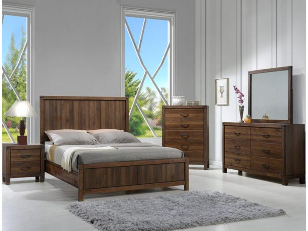 Modern rustic design 4 pieces set paneled headboard king - Contemporary king bedroom furniture ...