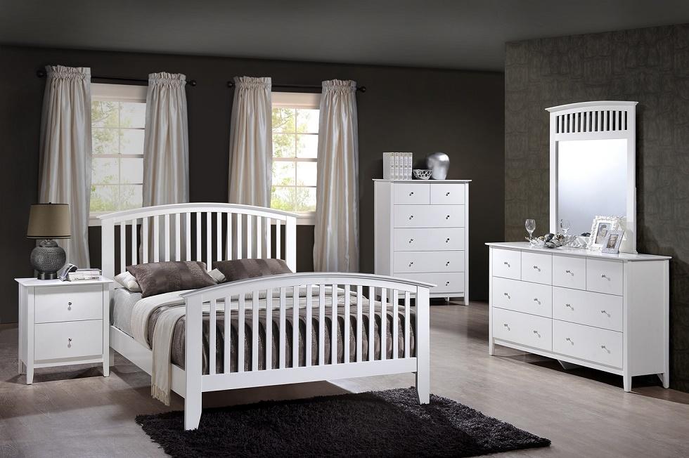 white bedroom set king size bed nightstand dresser mirror 4pc set