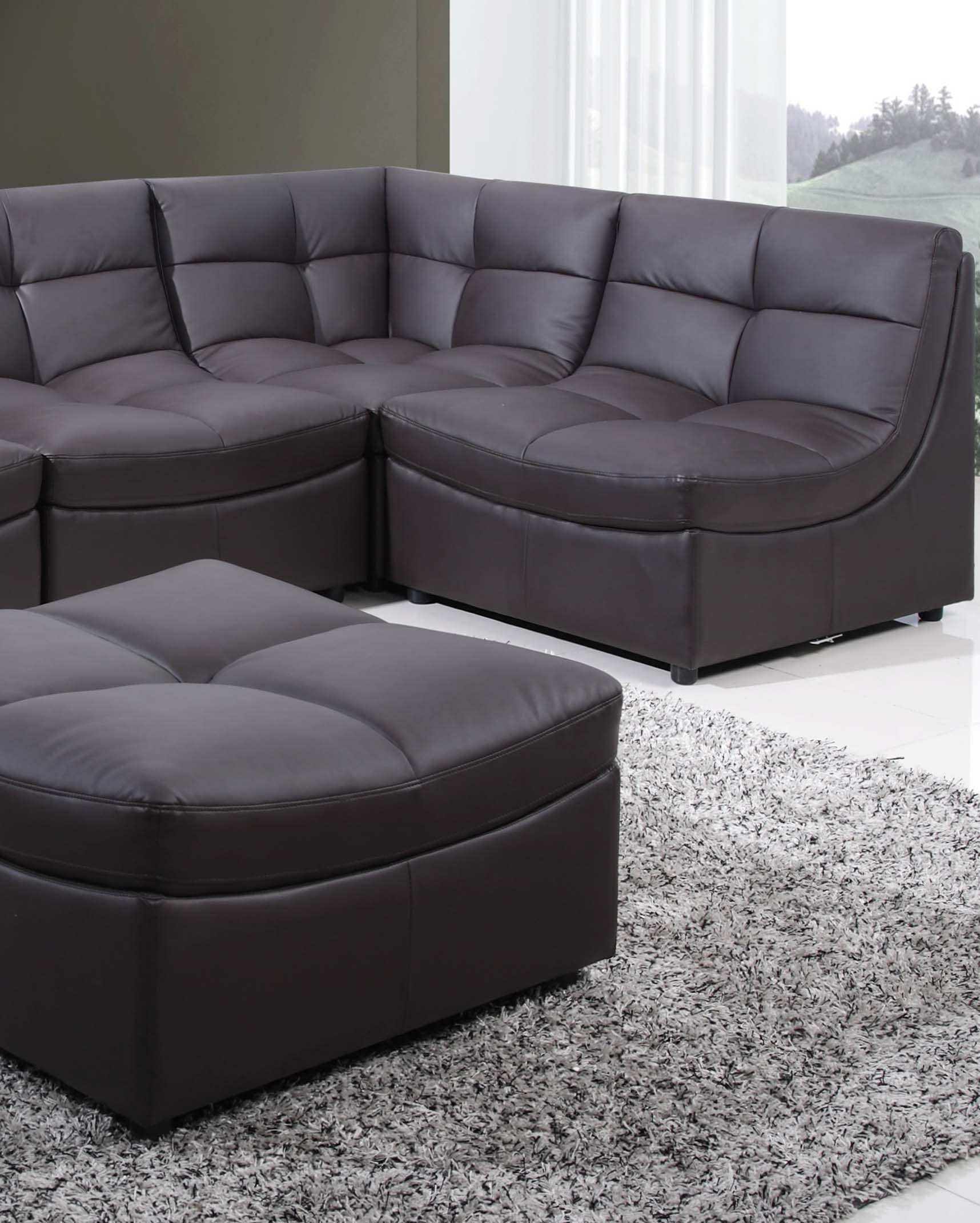 Brown sectional couch 6 pc set 9148 brn hot sectionals for 6 pc sectional living room