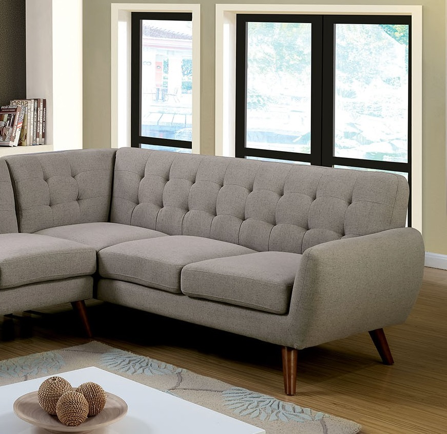 Mid Century Modern Sectional: FOA Sectional Sofa Gray Color #CM6144