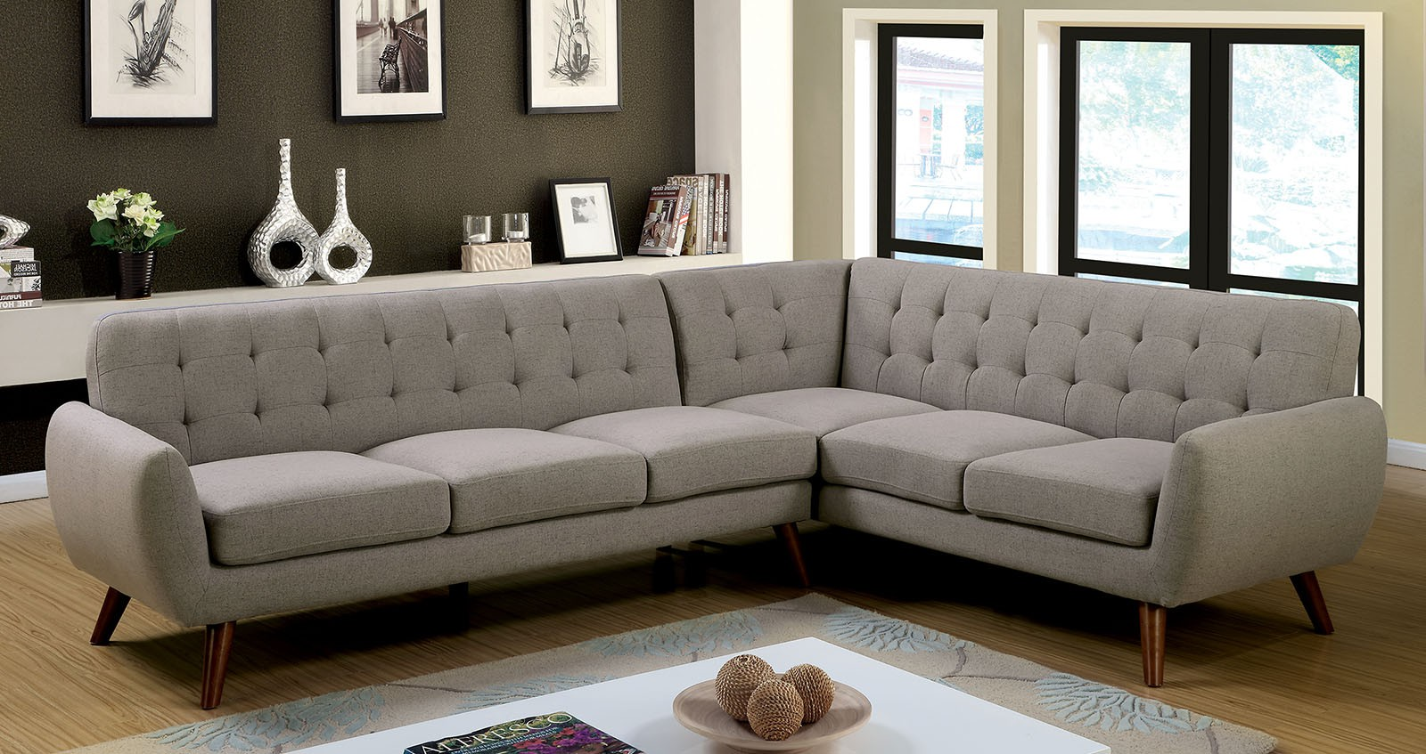 Foa sectional sofa gray color cm6144 hot sectionals - Gray modern living room furniture ...
