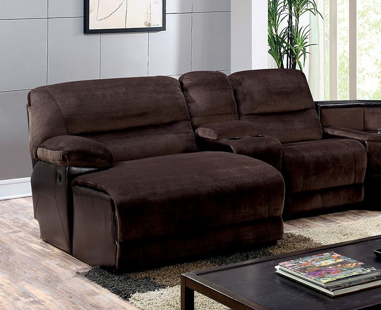 Recliner Sectional Brown Console Chaise Foa Cm6822 T