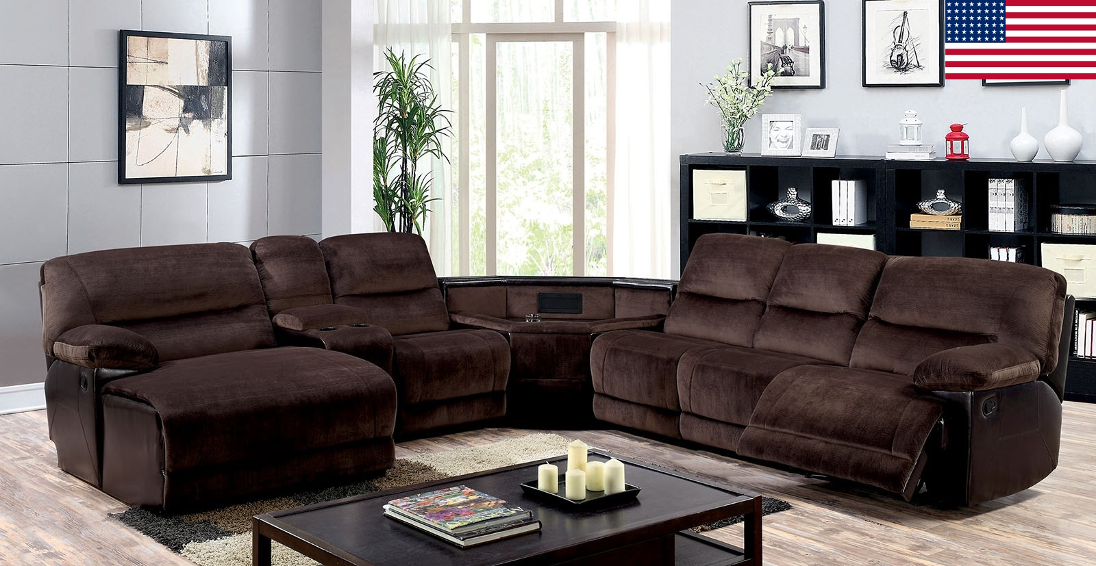 Recliner sectional brown console chaise foa cm6822 t for Brown sectional with chaise