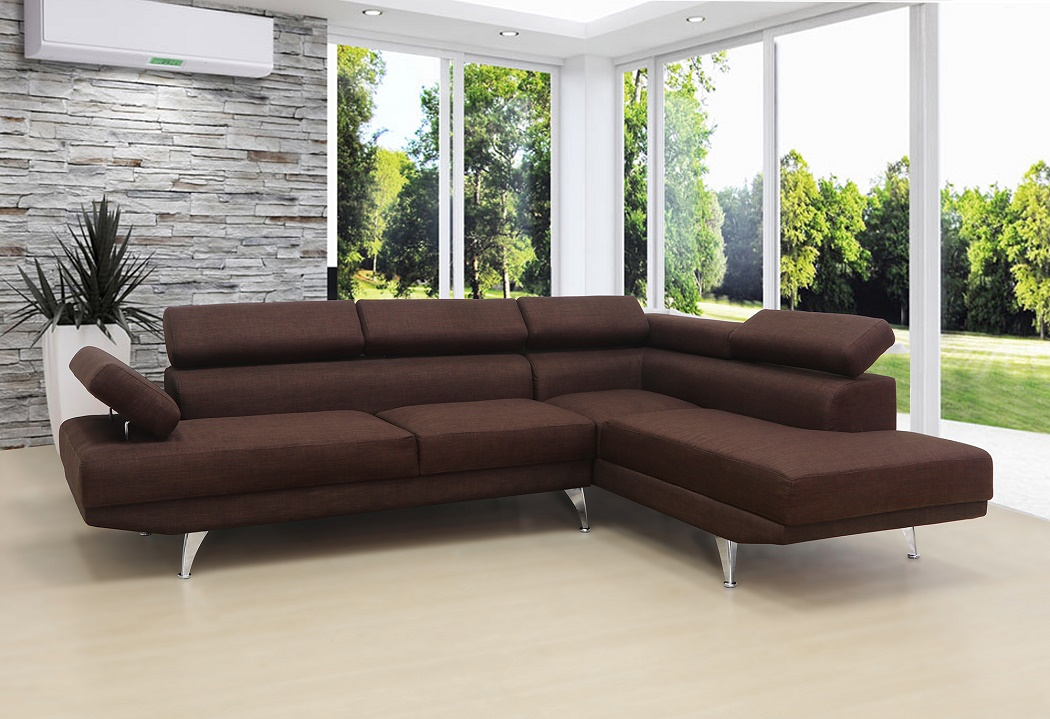 New! 2pc Sectional Sofa Set Brown Linen Fabric Sofa & Chaise Modern Living  Room