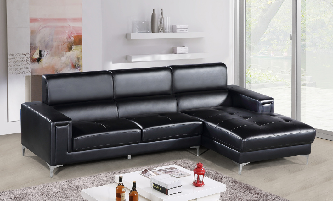 Modern sectional couch black faux leather sofa sectional for Black leather sectional with chaise