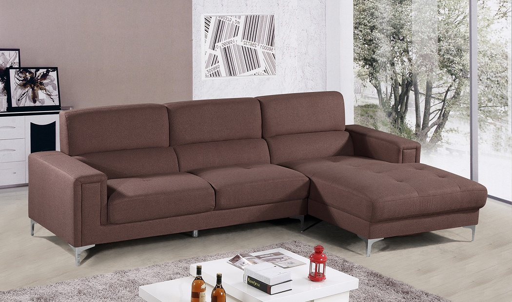 Outstanding New Casual Raf 2 Pcs Sectional Sofa Chaise Brown Fabric Living Room Sofa Set Ocoug Best Dining Table And Chair Ideas Images Ocougorg