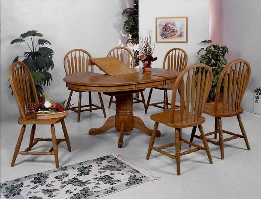 Casual Traditional Dining 7-pcs Set Oval Shape Dining Table & Chairs Slat  Seating Oak Wood Dining