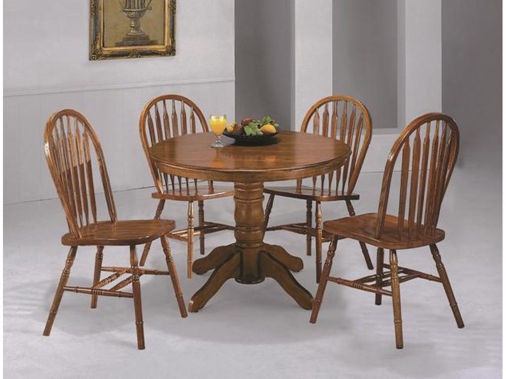 Traditional Styling Dining 5-pcs Set Round Dining Table & Chairs Slat  Seating Oak Wood Dining