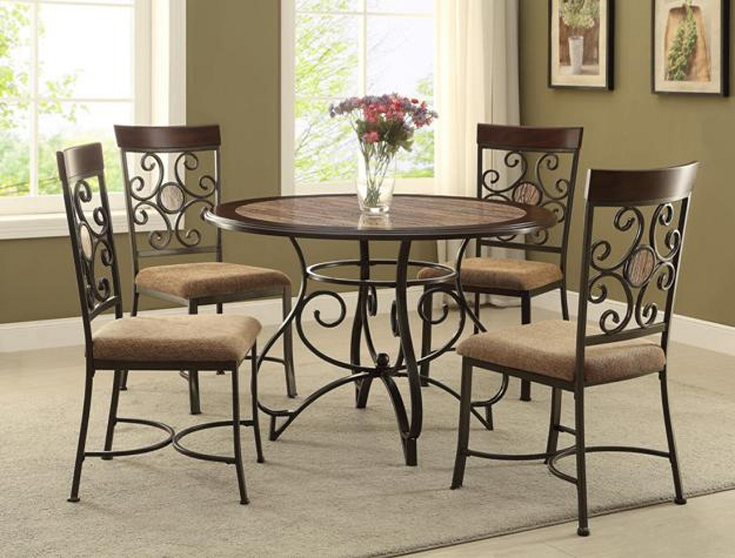 5pc Casual Dining Room Table W 4 Side Chairs Fabric Seat