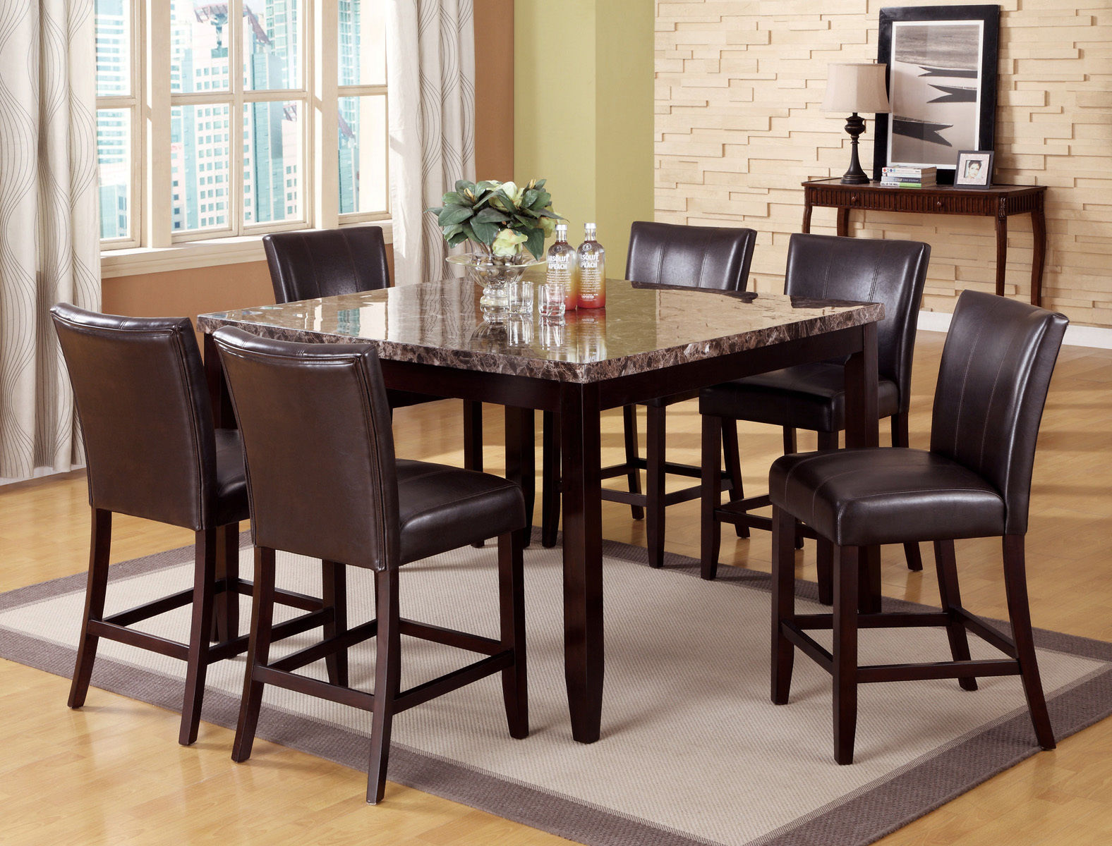 Couter Height 7pc Set Marble Table 6 Chairs Hot Sectionals