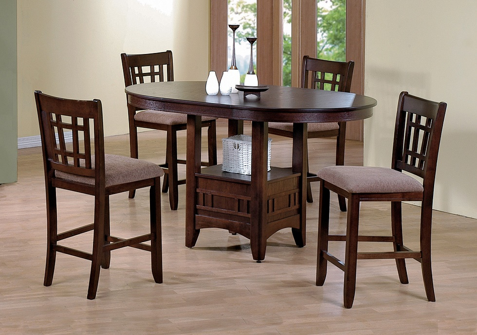 Dark Wood Finish Modern Dining Room W Optional Items: 5pc Couter Height Table 4 Chairs Cushion