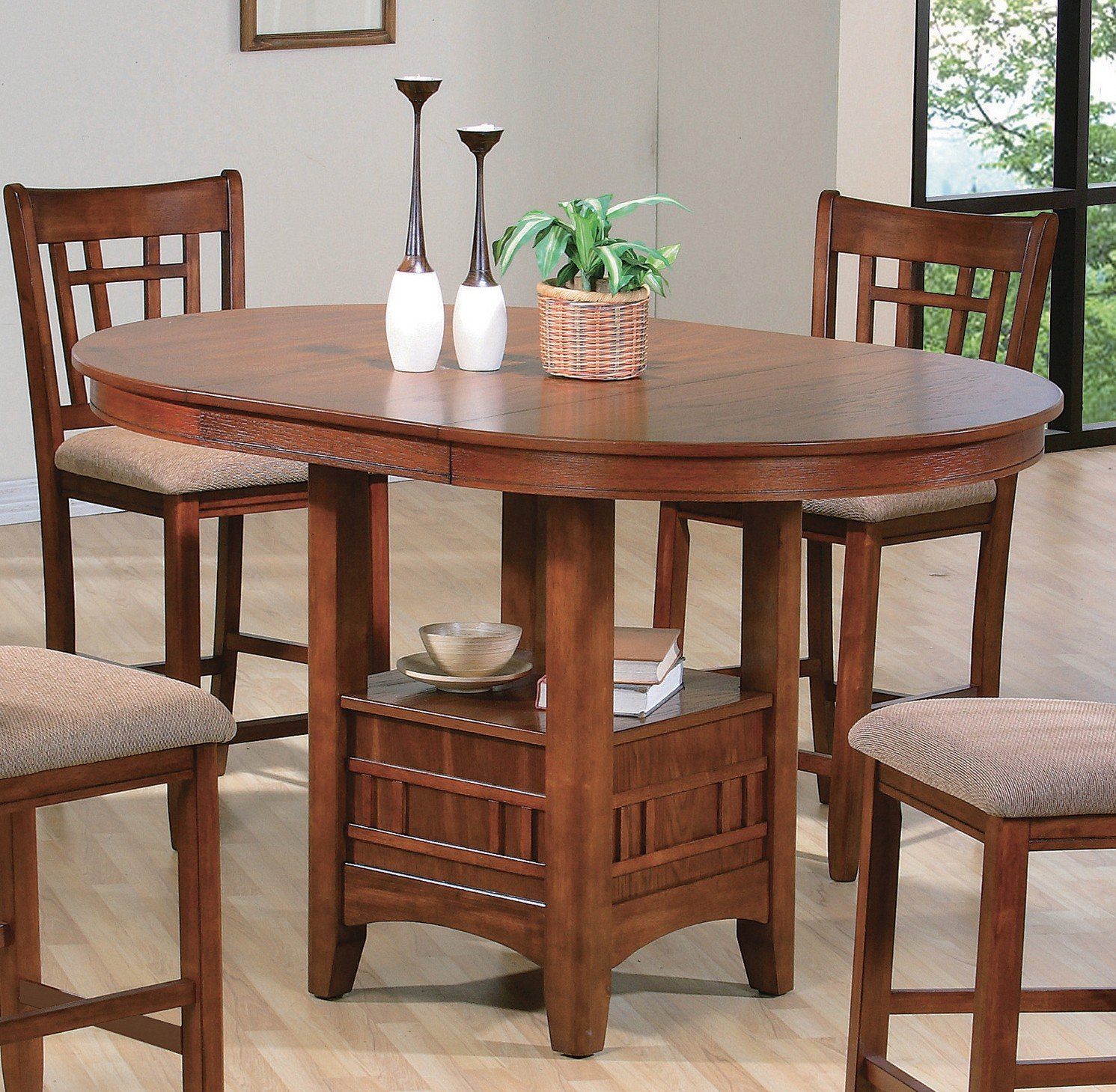 Dining Room Furniture Product: 5pc Couter Height Table 4 Chairs Cushion