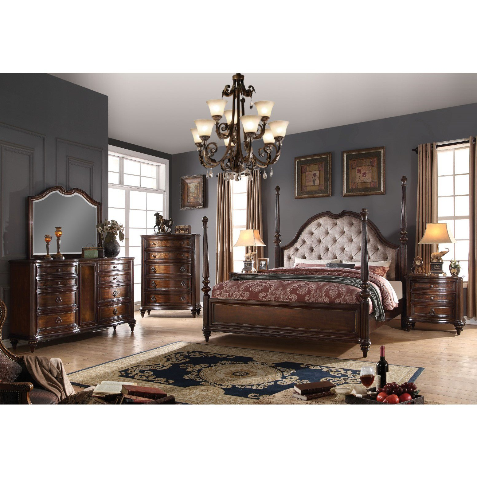 4pc Cal.King Size Bedroom Set Walnut Traditional