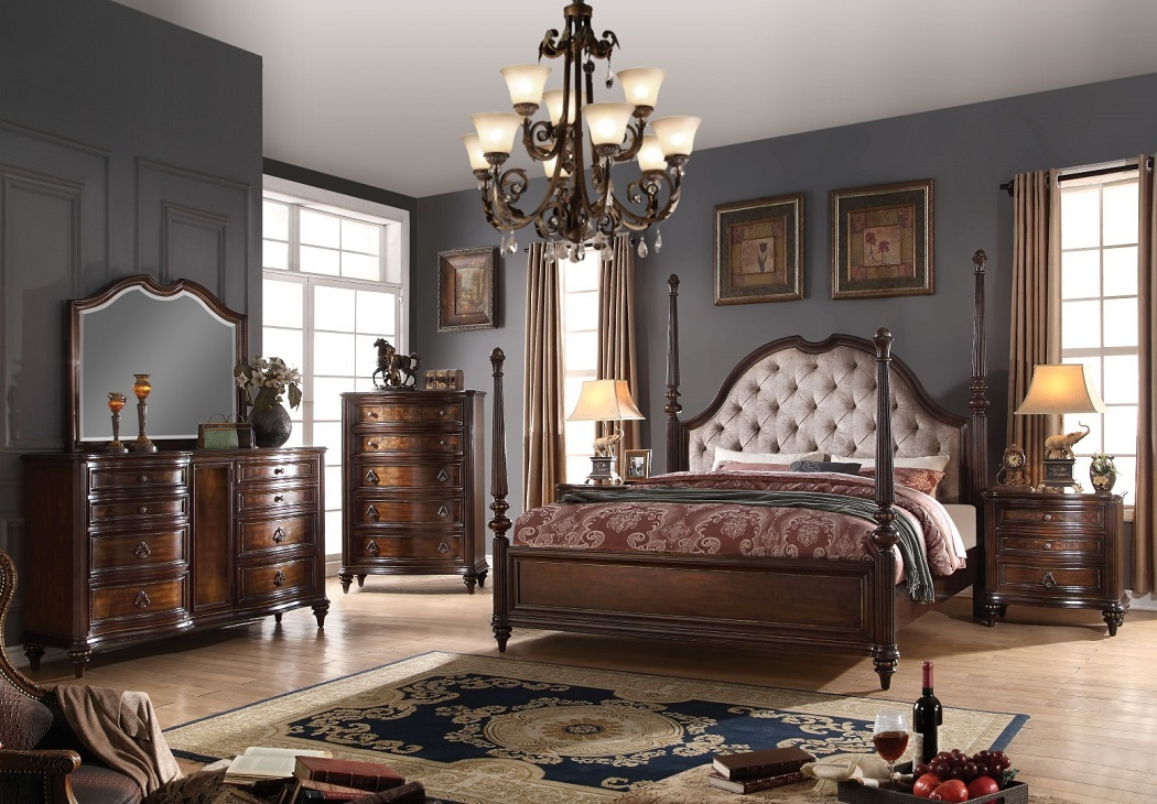 4pc cal king size bedroom set walnut traditional hot - Bedroom sets for small rooms ...