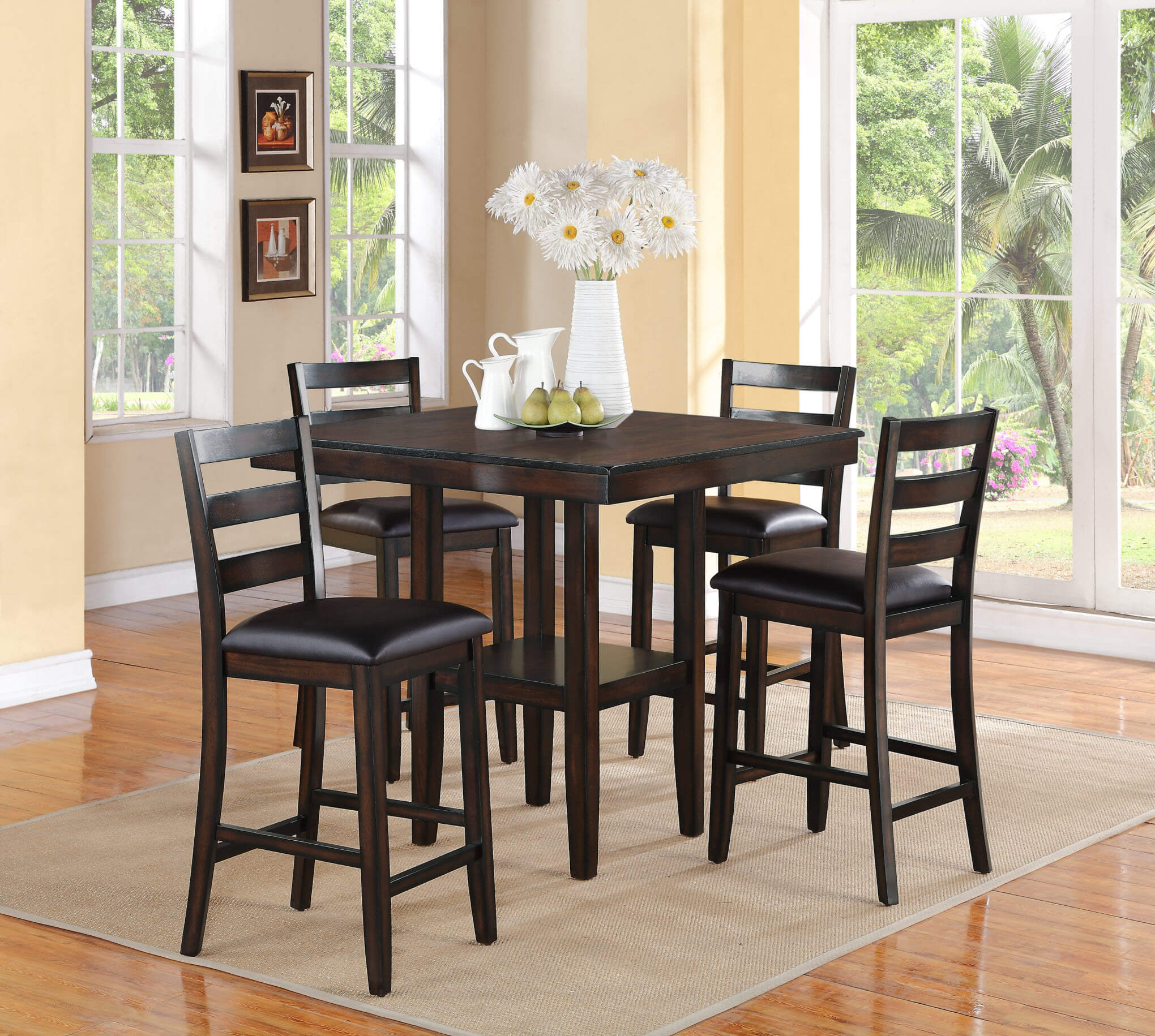 New Contemporary Style Storage Bottom Shelf Counter Ht Dining Room Table W 4 Chairs 5 Pcs Set