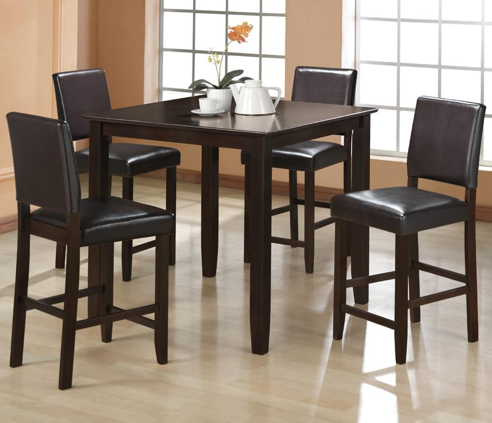 5pc Set Round Dinette Kitchen Table W 4 Microfiber: 5pc Counter Height Table 4 Chairs UPh Seat