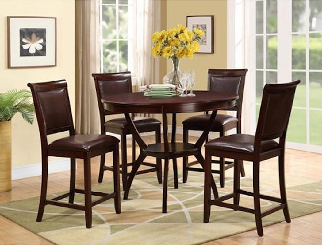 5p Round Counter Height Table 4 Chairs Faux Hot Sectionals