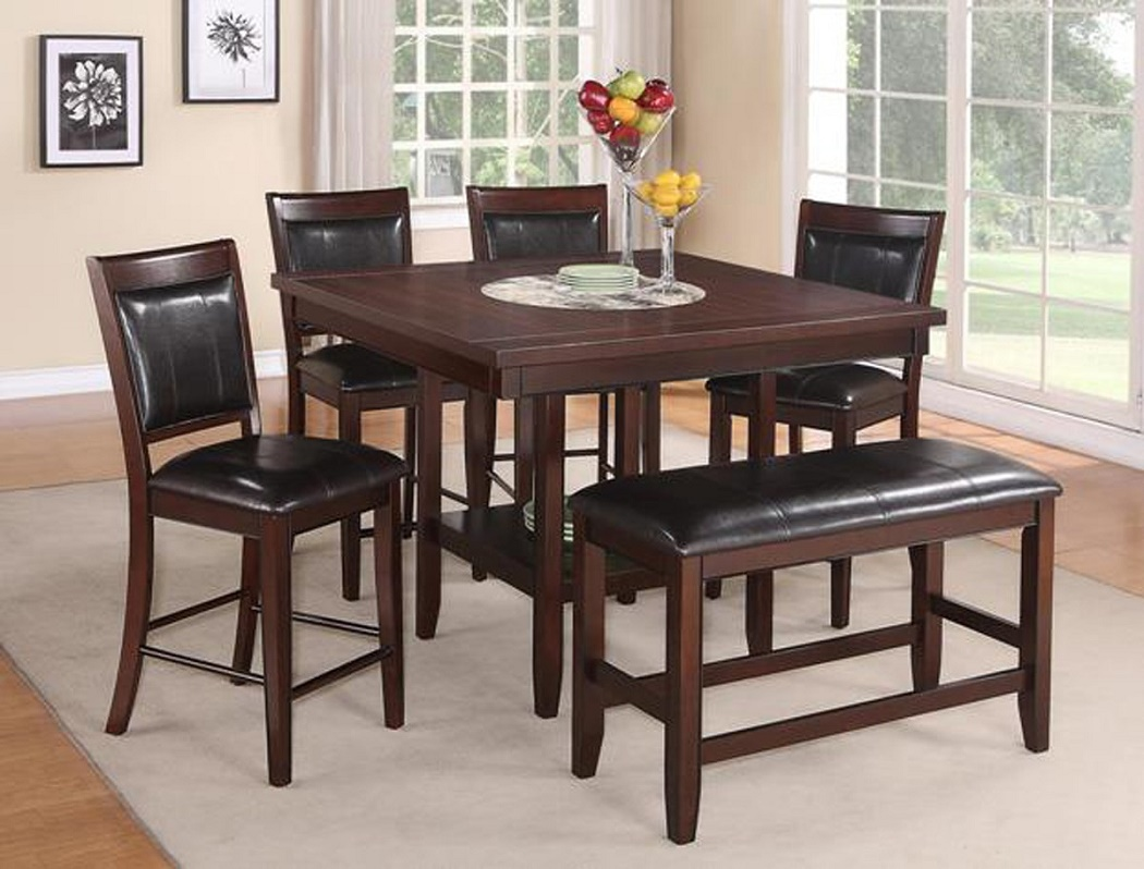 6pc Couter Height Table 4 Chairs Bench Uph
