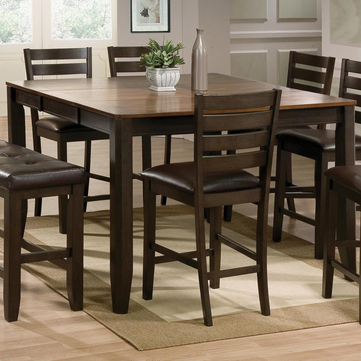 8pc Couter Height Table 6 Chairs Bench Uph Hot Sectionals