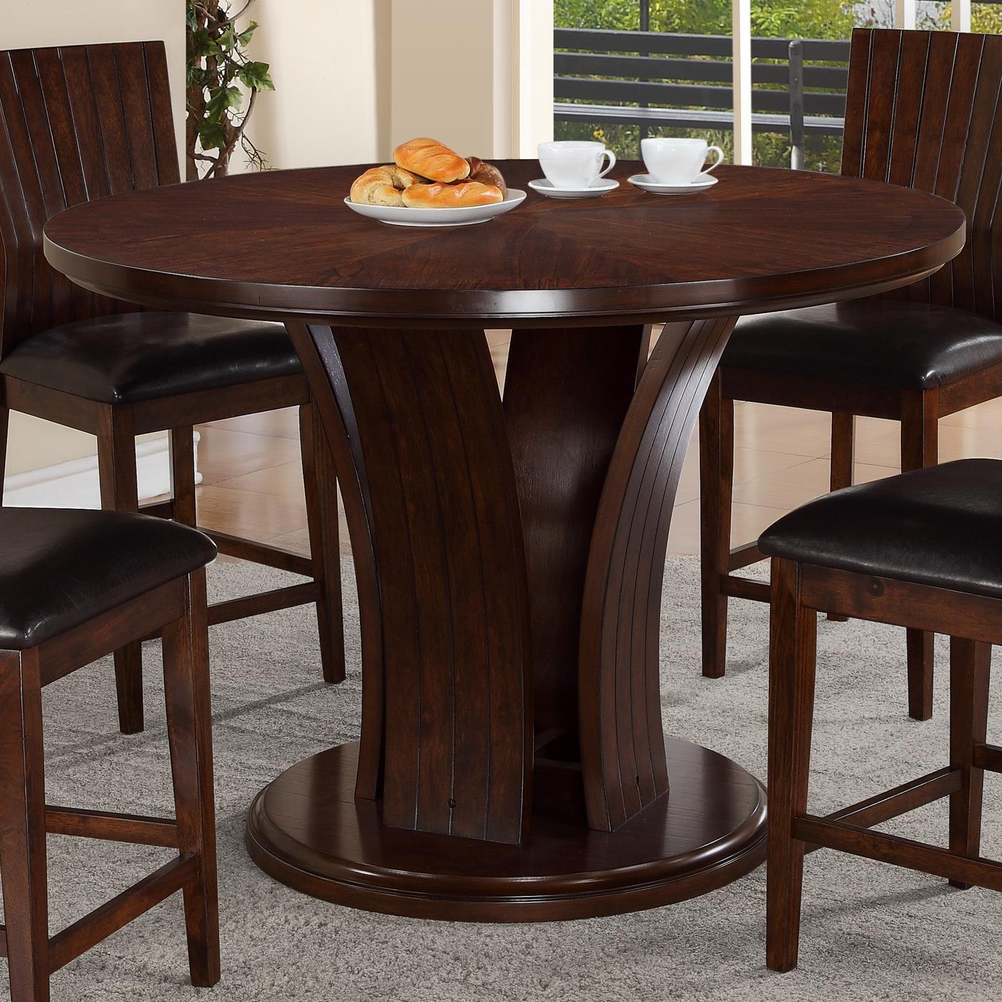 5pc Set Round Dinette Kitchen Table W 4 Microfiber: 5pc Couter Height Round Table 4 Chairs Uph