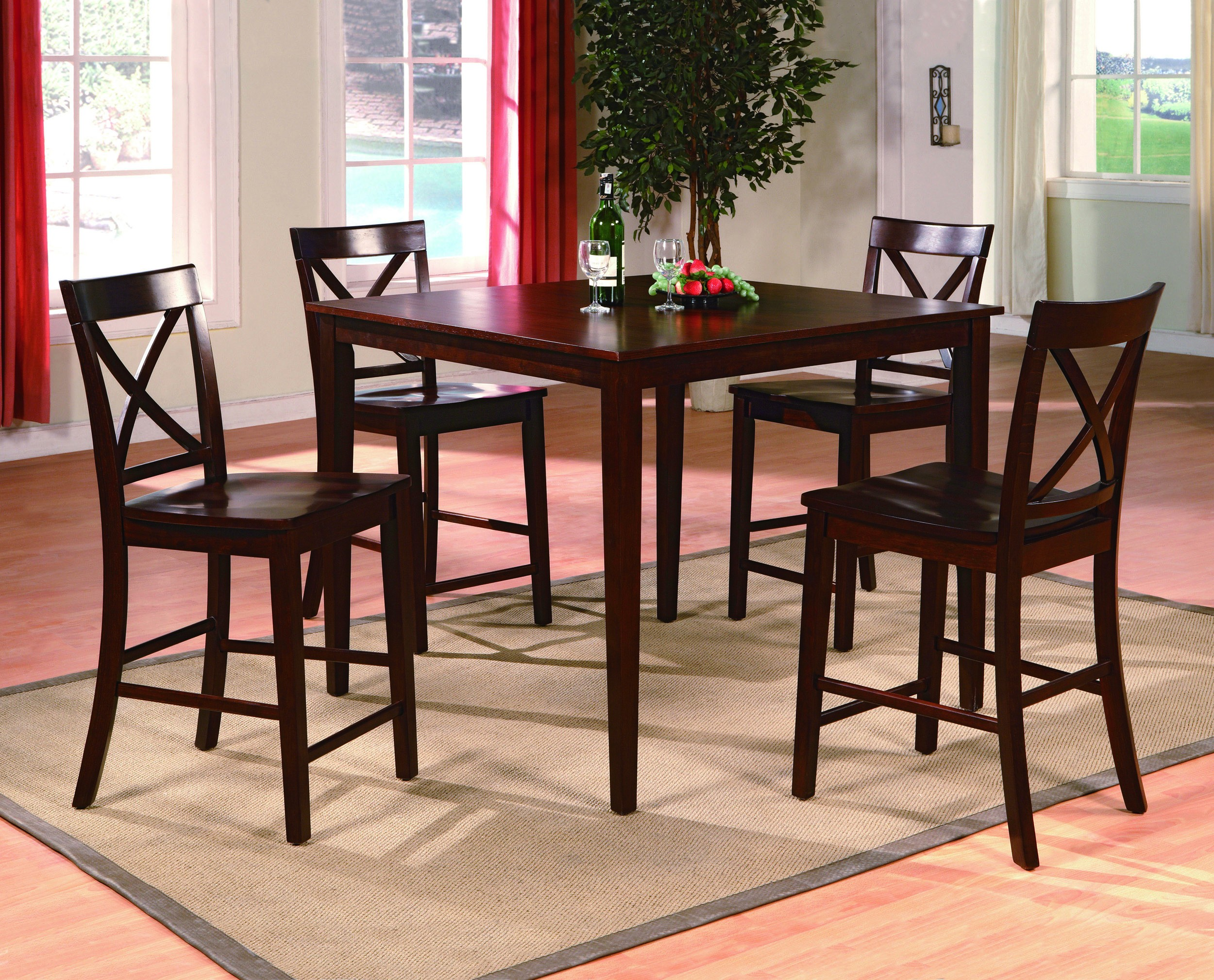 Contemporary Style 5pc Counter Height Table W 4 Side Chairs X Back Design Dining Room Furniture