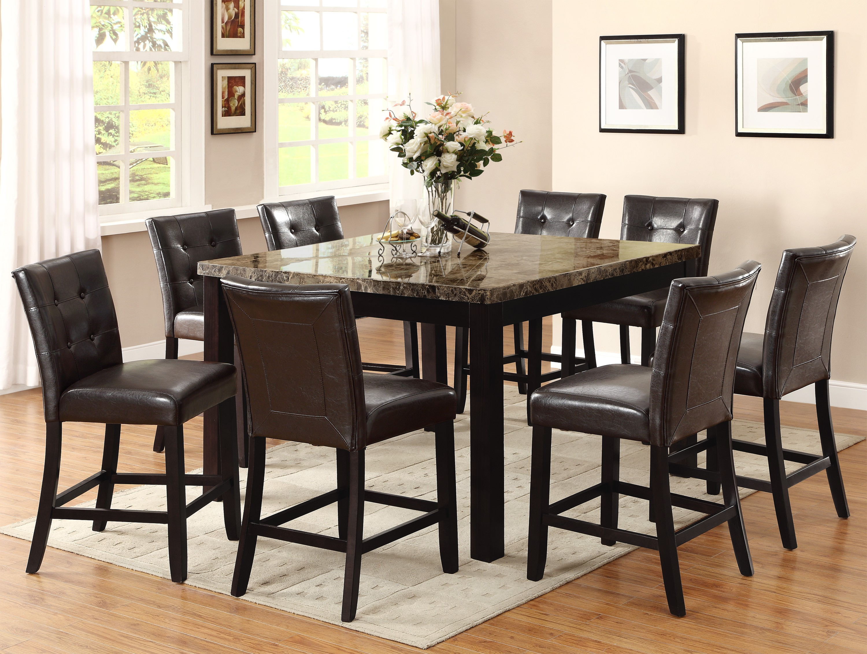 9pc Dining Table 8 Chairs Uph Seat Back Hot Sectionals
