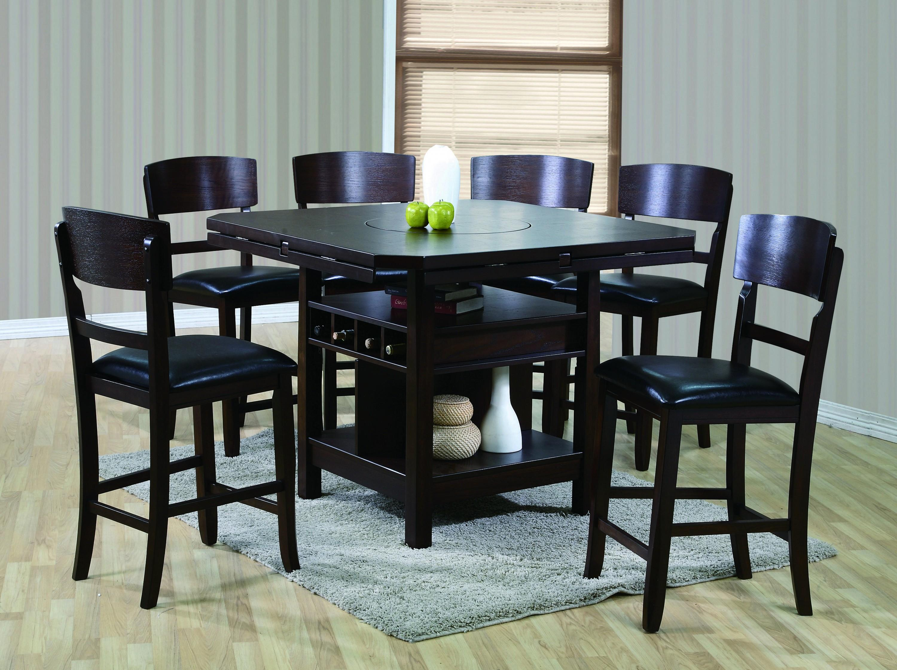 Transitional Style Counter Height Dining 7pc Set Round Table W 6 Chairs Espresso Finish 46 Square To 60