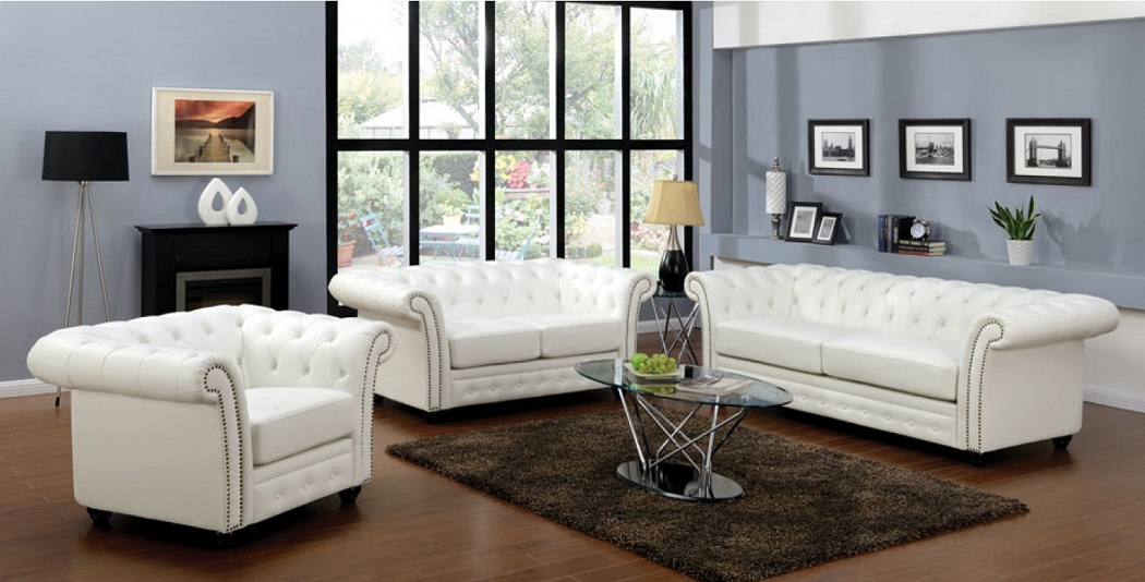 3pc Sofa Set White Bonded Leather Living Room