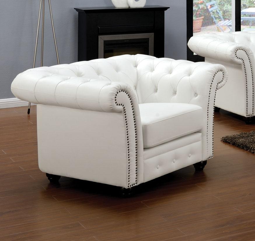 3pc Sofa Set White Bonded Leather Living Room