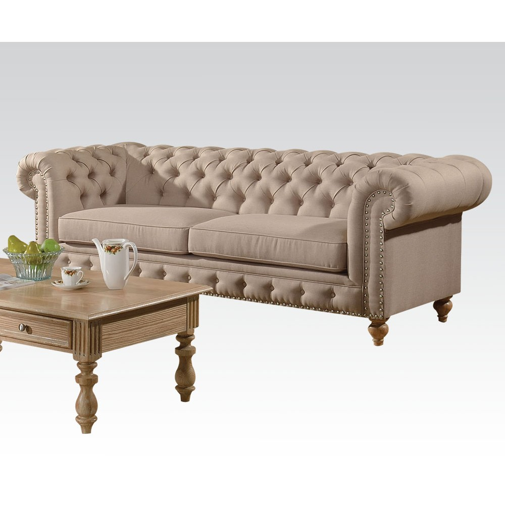 2pc Sofa Set Beige Fabric Traditional Living Room   Hot Sectionals