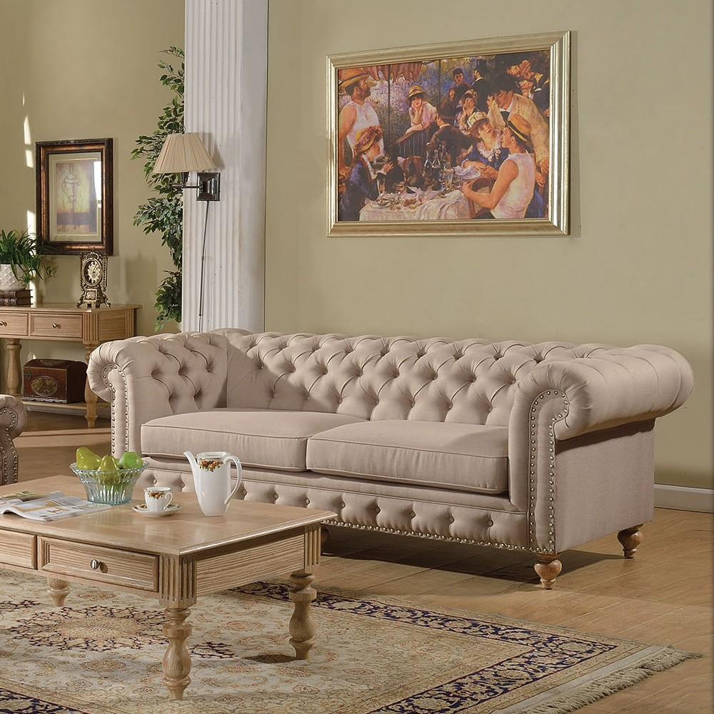 2pc Sofa Set Beige Fabric Traditional Living Room Hot